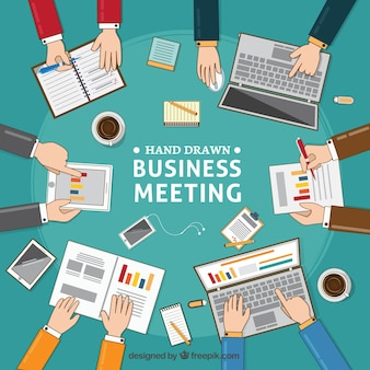 Business meeting background with documents and laptops