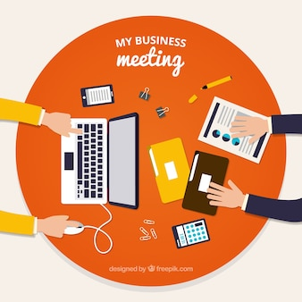 Business meeting background with documents