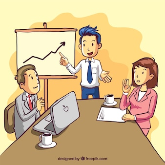 Business meeting background with statistics