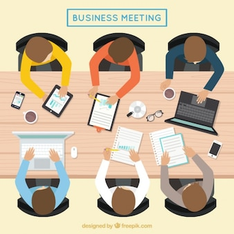 Business meeting in a top view
