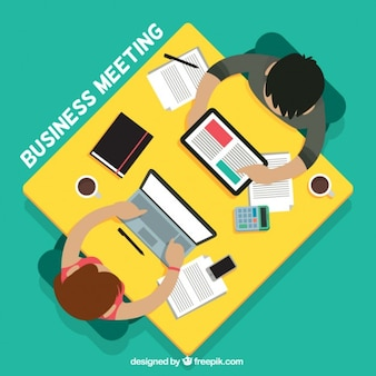 Business meeting on top view in flat design
