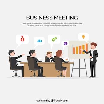 Business meeting scene in flat design