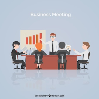 Business meeting scene with statistics
