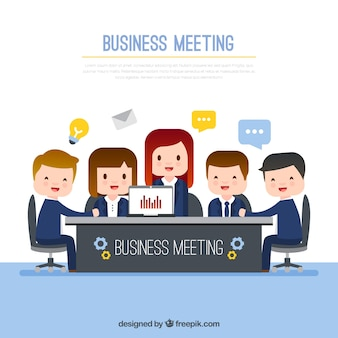 Business meeting with lovely characters