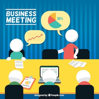 Business meeting with pictograms