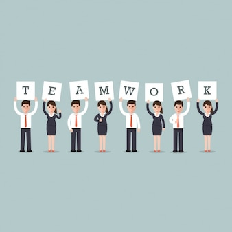 Business men and women with the word  teamwork