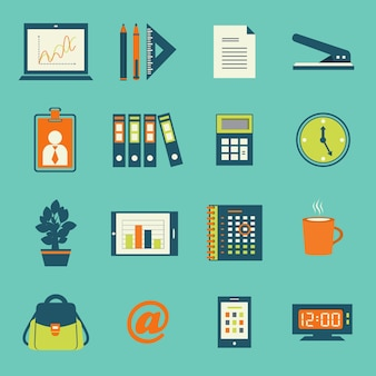 Business office stationery icons set of smartphone tablet and notebook computer isolated vector illustration