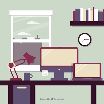 Business office window view vector