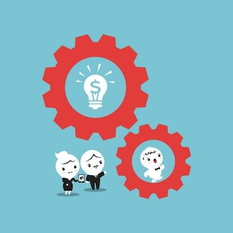 Business people with gears