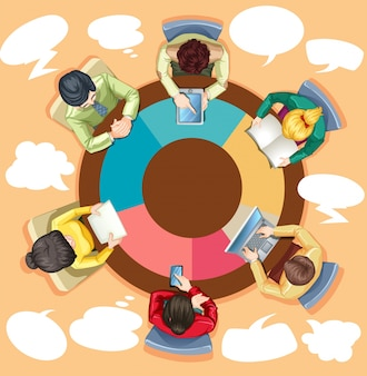 Business people working on the round table