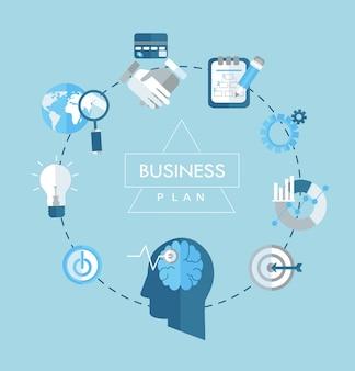 Business plan concept flat icons illustration.
