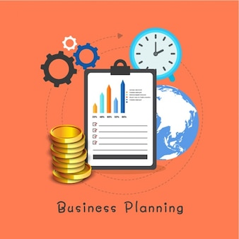 Business planning background with clipboard and coins