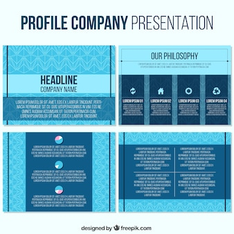 Business presentation template in blue tones