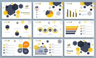 Business Presentation Template set with infographics.