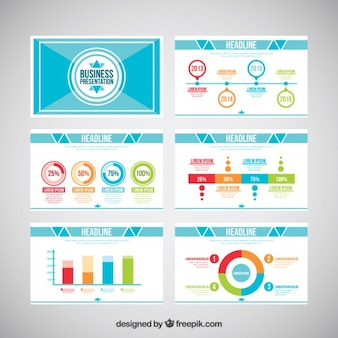 Business presentation with colored infographic elements