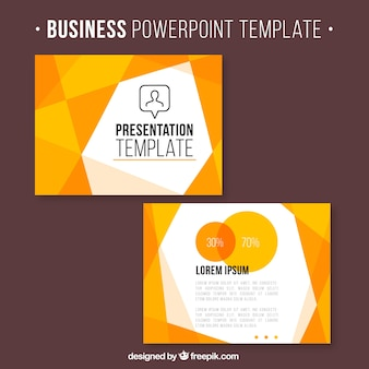 Business presentation with orange geometric shapes
