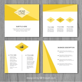 Business presentation with yellow abstract shapes