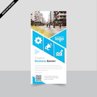 クリーンなベクトルデザインでビジネスロールアップ幾何学バナー