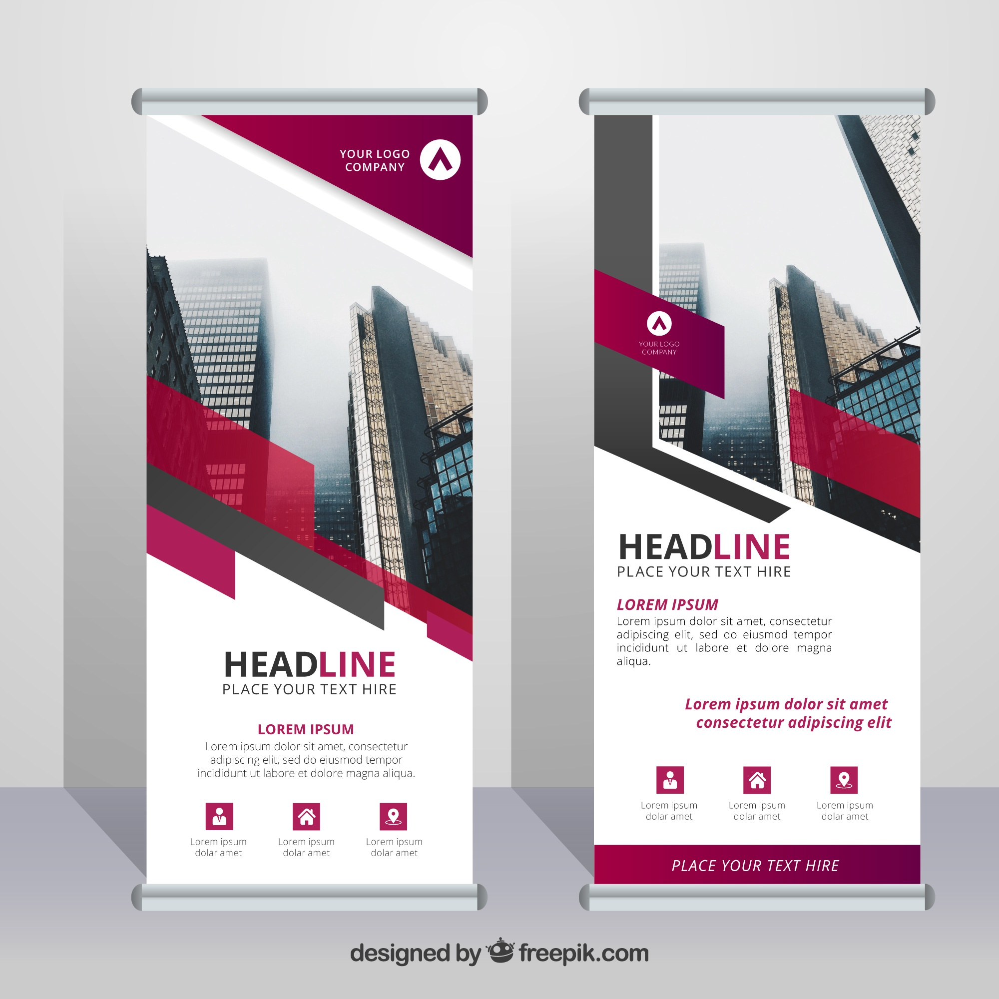 Business roll up template with color elements
