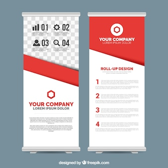 Business roll up template with red details