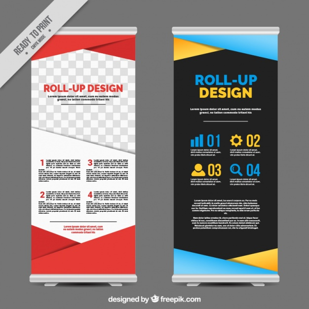 Business roll up with colorful geometric shapes