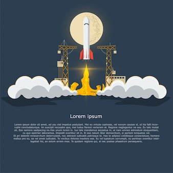 Business startup infographic template with rocket concept