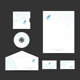 Business stationery design with outline shapes