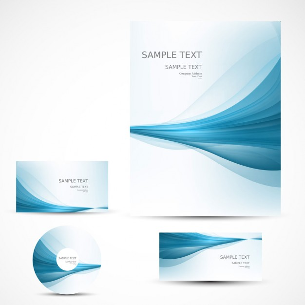 Business stationery with blue waves