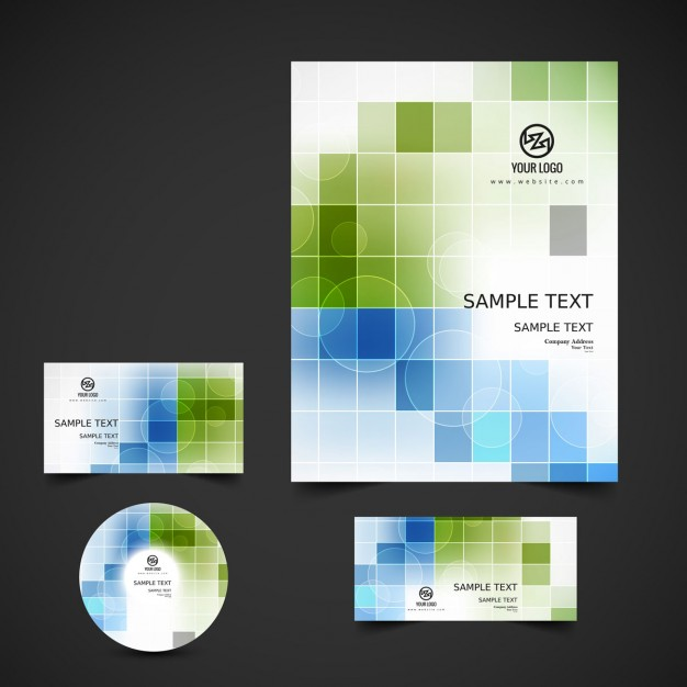 Business stationery with green and blue squares