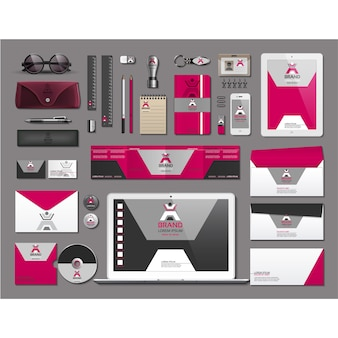 Business stationery with pink design