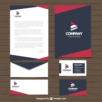Business stationery with red and blue geometric shapes