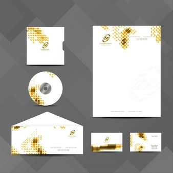 Business stationery with yellow dots