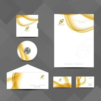 Business stationery with yellow wavy lines