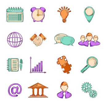 Business strategy planning teamwork collaboration sketch line icons set isolated vector illustration