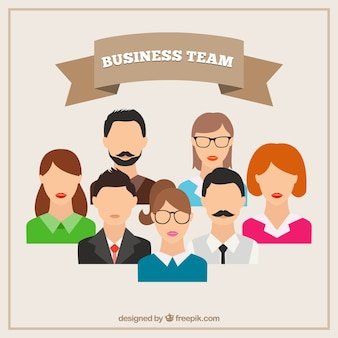 Business team avatars in flat design