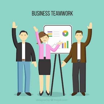 Business teamwork in flat style