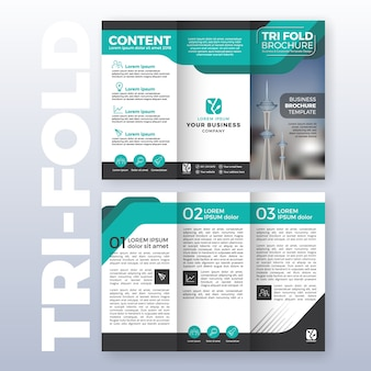 Business tri-fold brochure template design with Turquoise color scheme in A4 size layout with bleeds