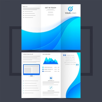 Business trifold leaflet or flyer design with blue waves.