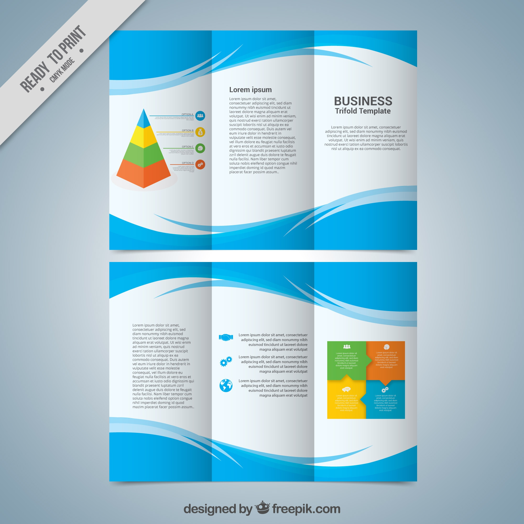 Business trifold template with abstract blue shapes