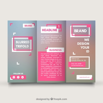 Business trifold template with pink elements