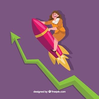 Business woman on rocket