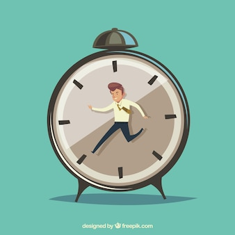Businessman against time clock