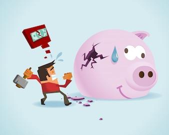 Businessman breaking a piggy bank