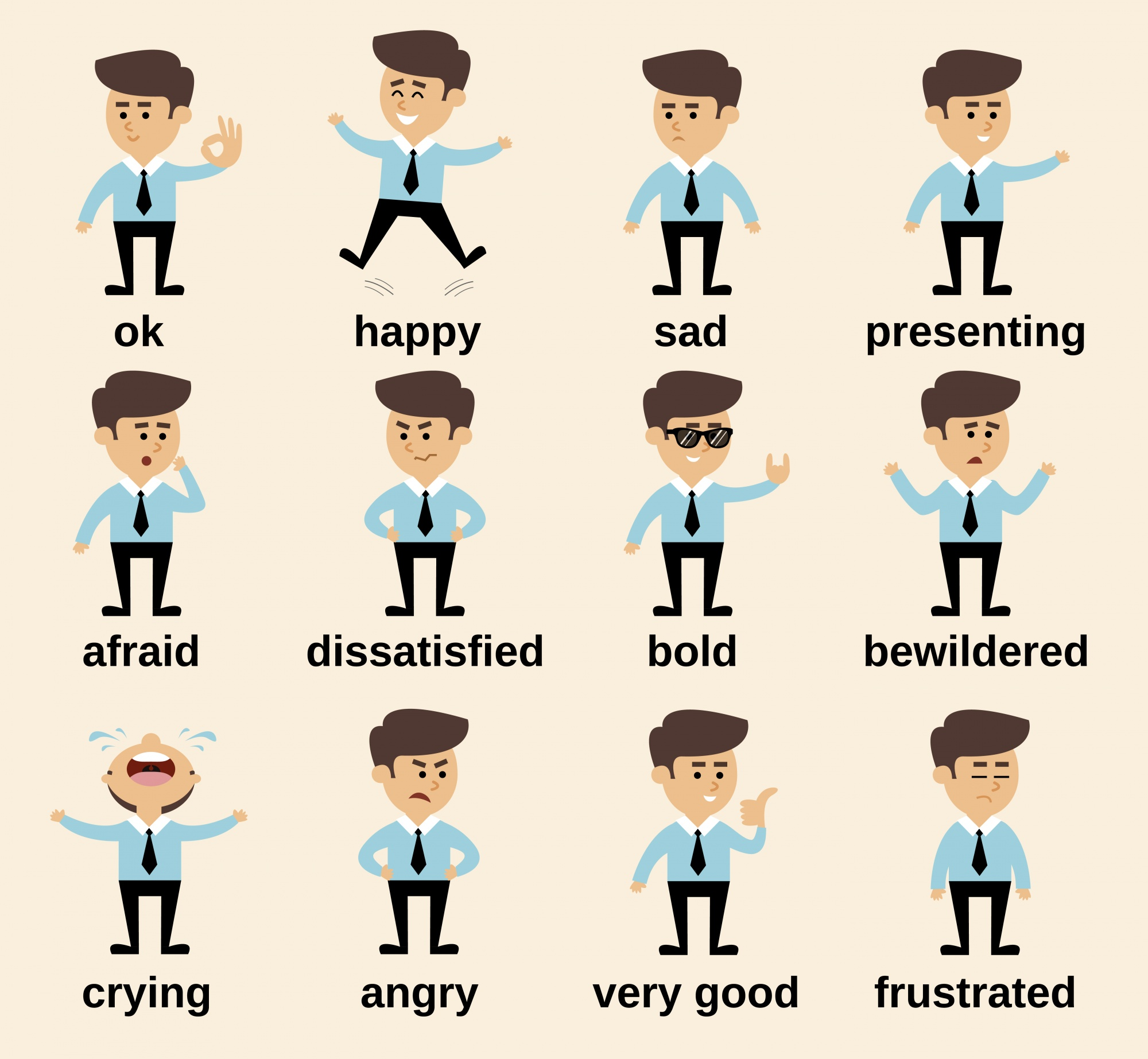 Businessman cartoon character emotions set isolated vector illustration