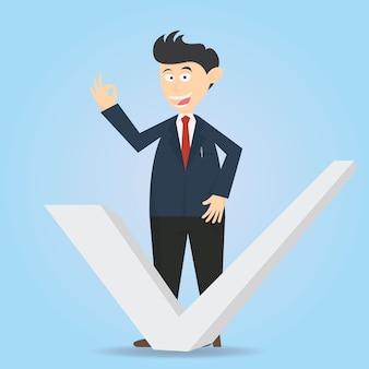 Businessman character cartoon vector design with check list mark