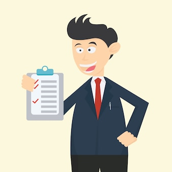 Businessman character cartoon vector design with check list