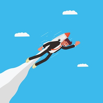 Businessman character flying using a rocket