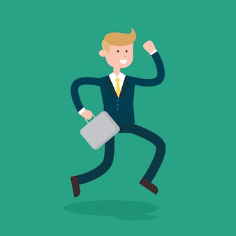 Businessman character go to work cartoon vector design