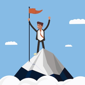 Businessman character on top of the mountain