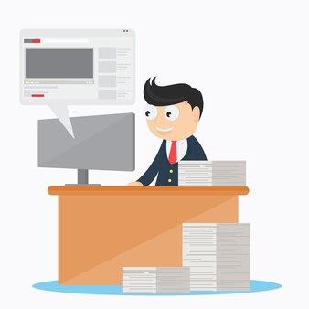 Businessman character playing social media at work cartoon vector design